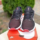 Чоловічі кросівки в стилі Nike Running чорні з білим і червоним, фото 3