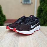 Чоловічі кросівки в стилі Nike Running чорні з білим і червоним, фото 7
