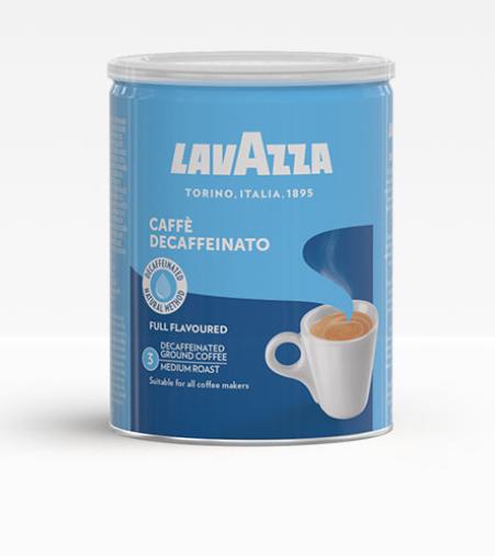 Кофе молотый Lavazza Caffe Decaffeinato без кофеина 250 г в жестяной банке