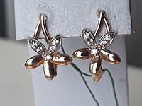Стильні золоті сережки-квіти з цирконієм 585 проби, фото 1
