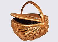 Пикниковая круглая корзина из лозы, фото 1