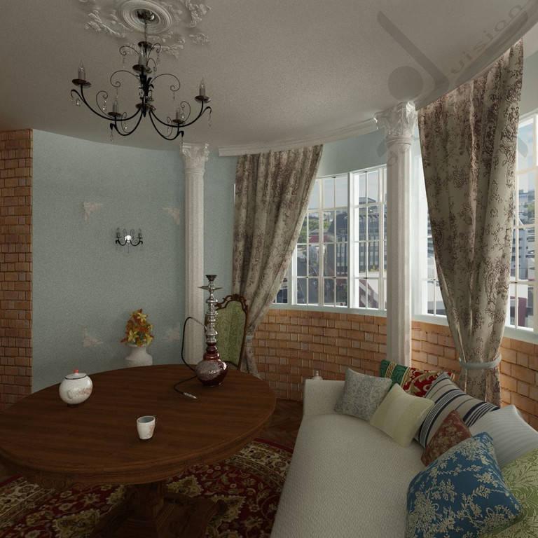 Общая комната с эркером