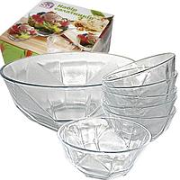 Салатники стеклянные, набор 7 шт. (1 шт.-1,9 л. 6 шт.-300 мл.), фото 1