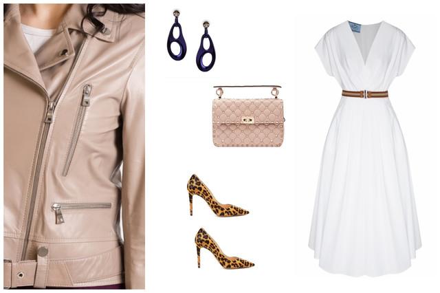 бежевая косуха и белое платье
