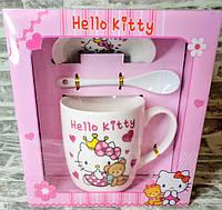 Чашка керамическая детская с блюдцем и ложкой  Hello Kitty