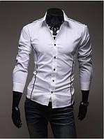 Рубашка мужская белая со вставками