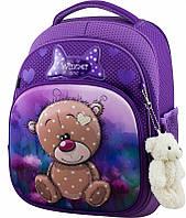 Рюкзак школьный для девочки 1-4 класса ортопедический каркасный Winner One Мишка 7006 фиолетовый 29*17*36 см