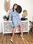 Женское летнее голубое платье с цветочным принтом, фото 3