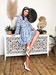 Женское летнее голубое платье с цветочным принтом