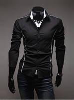 Черная рубашка мужская со вставками