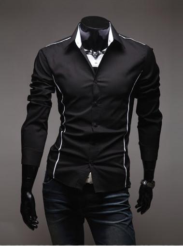 04df9a7254d Черная рубашка мужская со вставками - Интернет магазин