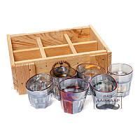 Набор 6 пьяных рюмок необычных object BST 520001 20х16х7 см. граненых Rainbow