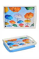 Поднос на подушке для завтрака с ручками BST 48*33 бело-голубой Зонтики
