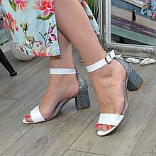 Босоніжки шкіряні жіночі Vasha Para 1374 36 колір білий/лазер