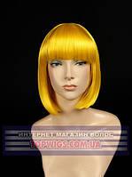 Цветной парик каре из канекалона 8039 желтый для сцены, танцев, вечеринок и развлечений