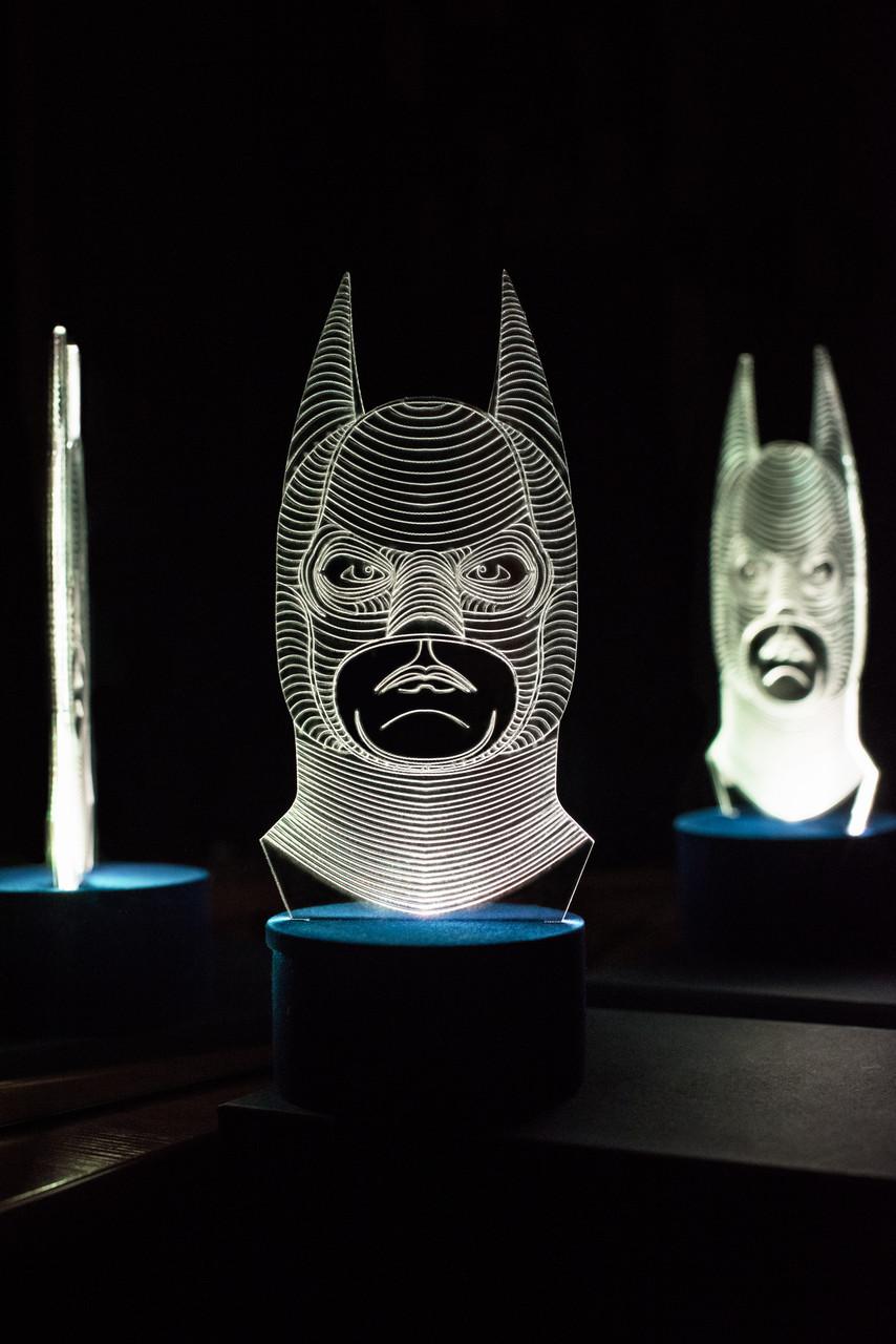 3d-світильник Бетмен, Бетмен, 3д-нічник, кілька підсвічувань (батарейка+220В)