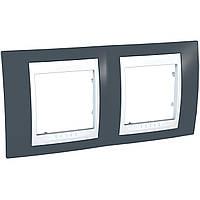 Рамка 2-модульна горизонтальна сіро-зелений/білий Unica Plus