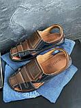 Мужские сандали кожаные летние черные-коричневые Bumer Premium 900, фото 5