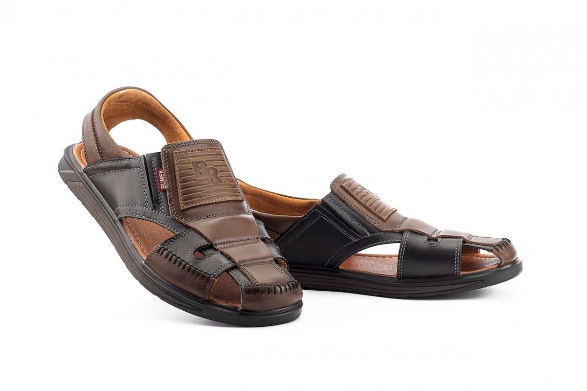 Мужские сандали кожаные летние черные-коричневые Bumer Premium 900