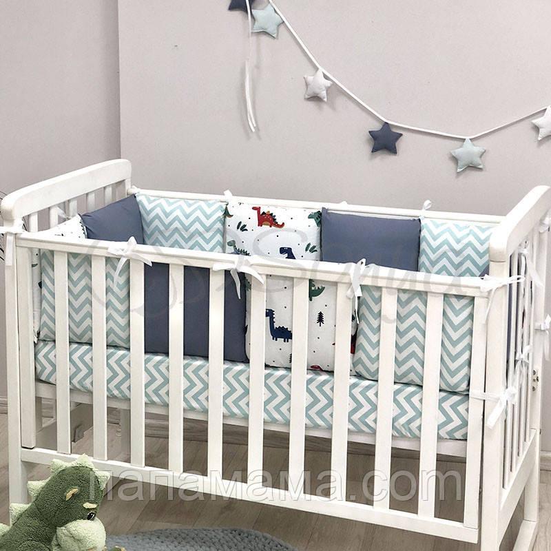 Бортики+простынь Baby Design, Дино синий