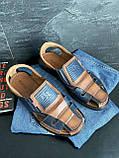 Мужские сандали кожаные летние синие-коричневые Bumer Premium 902, фото 5