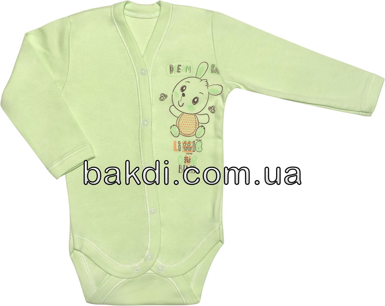 Детское боди для новорожденных рост 80 9-12 мес на мальчика девочку трикотажное с длинным рукавом салатовое