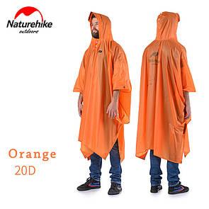Туристический пончо, накидка, тент от дождя Naturehike 20D силиконовая пропитка. Оранжевый.