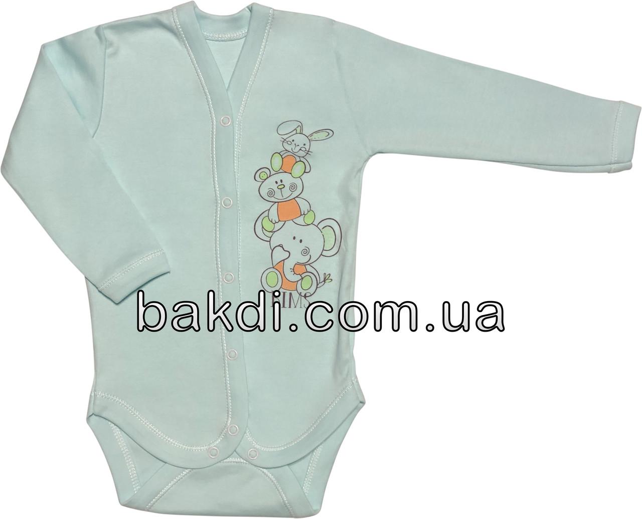 Детское боди для новорожденных рост 68 3-6 мес на мальчика девочку трикотажное с длинным рукавом бирюзовое