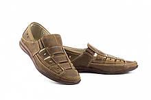 Чоловічі сандалі шкіряні літні оливкові Vankristi 1161
