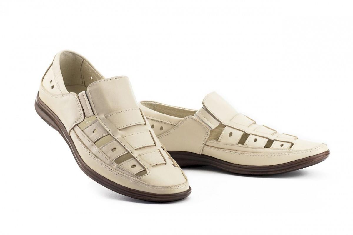 Чоловічі сандалі шкіряні літні бежеві Vankristi 1161
