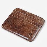 Кожаный картхолдер на 6 отделений коричневый, фото 8