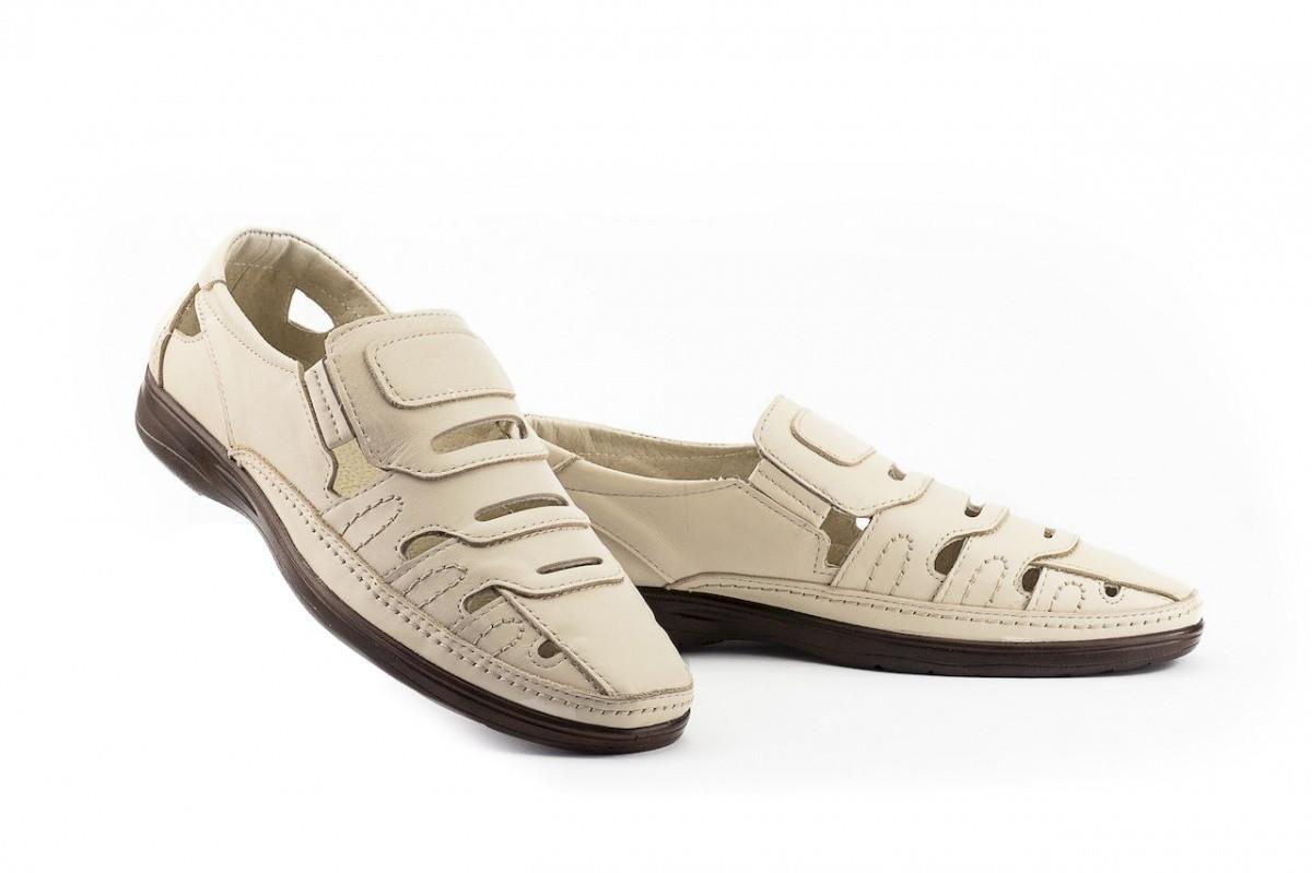 Чоловічі сандалі шкіряні літні бежеві Vankristi 1151