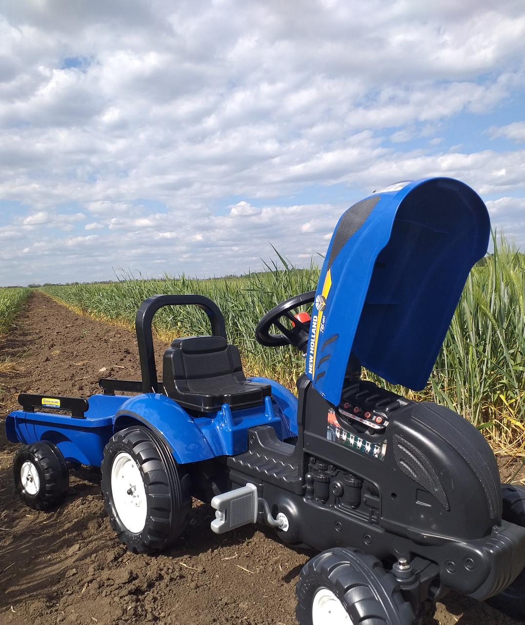Синий Трактор педальный с прицепом синий FALK NEW HOLLAND ...