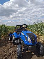 Синий Трактор педальный с прицепом синий FALK NEW HOLLAND с открывающимся капотом клаксон на руле Франция