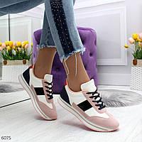 Стильные женские кроссовки из экокожи+экозамша с лаковыми вставками(36-41)