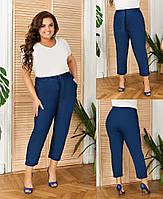 Стильные женские брюки на резинке из тонкого джинса, с высокой посадкой, карманами и манжетами(48-58)