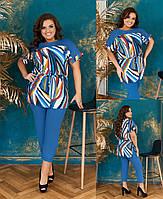 Жіночий комфортний костюм :туніка софт,завужені брюки (50-58), фото 1