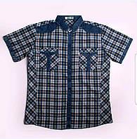 Рубашка мужская с коротким рукавом в  клетку с карманами