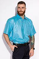 Мужская рубашка однотонная, с полиэстера, с коротким рукавом (с-ххл), фото 1