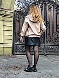 Бежевая куртка из кожи с капюшоном, фото 6
