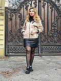 Бежевая куртка из кожи с капюшоном, фото 7