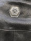Черная брендовая куртка Philipp Plein из кожи, фото 10