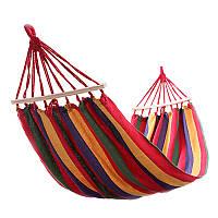 Мексиканский подвесной гамак с поперечной планкой 190100 см красный 177807
