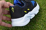 Детские кроссовки сетка Adidas Yeezy Boost Blue синие черный , копия, фото 3