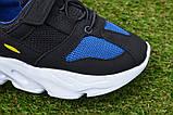 Детские кроссовки сетка Adidas Yeezy Boost Blue синие черный , копия, фото 6