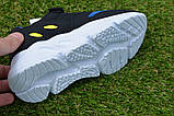 Детские кроссовки сетка Adidas Yeezy Boost Blue синие черный , копия, фото 8