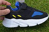 Детские кроссовки сетка Adidas Yeezy Boost Blue синие черный , копия, фото 9