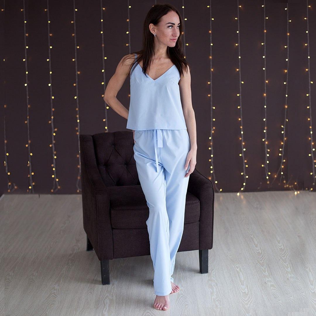 Піжама жіноча майка і штани. Блакитного кольору