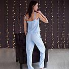 Піжама жіноча майка і штани. Блакитного кольору, фото 4