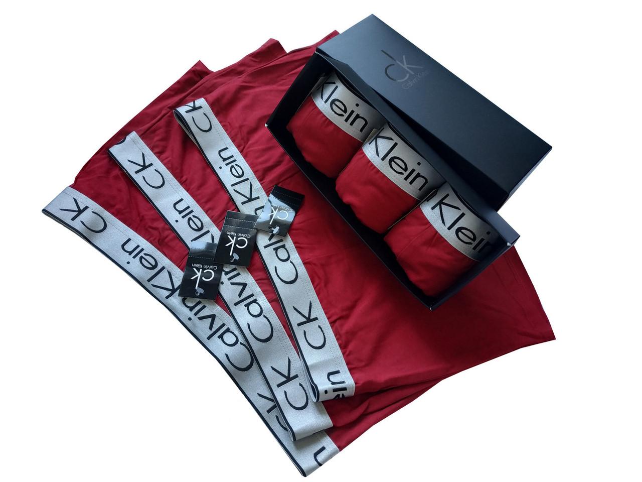 Набор бордовых мужских трусов Сalvih Kleih Bold (реплика) в брендовой подарочной коробке размер XL 3 штуки